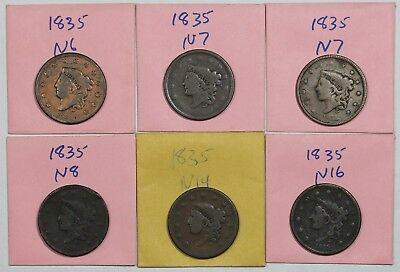 Lot of 6 different 1835 Coronet Head Large Cent die varieties, mixed grades