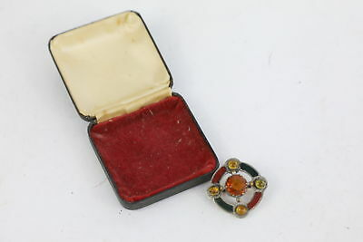 Early Scottish Silver Engraved Agate, Citrine & Cairngorm Wheel BROOCH 15g