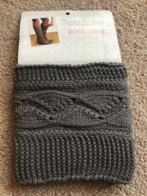 GRACE AND LACE Cable Knit Boot Cuffs Dark Grey NWT