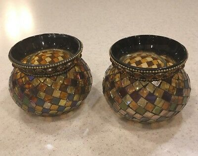 RETIRED Partylite Global Fusion Mosaic Votive Pair