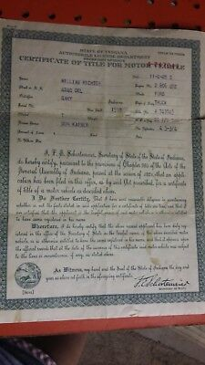 1918 ford model t truck indiana certificate of title- title # A-747043
