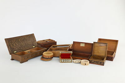 Lot of 10 x Vintage WOODEN TRINKET Boxes Mixed Designs & Sizes