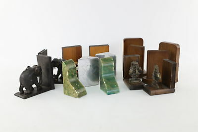Lot of 6 Pairs x Vintage Book Ends Mixed Designs Inc. Wooden, Cars & Ship etc