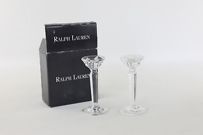 Pair of RALPH LAUREN German Full Lead Crystal CANDLESTICKS in Box 15.7cm