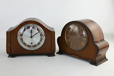 Lot of 2 x Vintage Key-Wind Wooden Cased Mantle Clocks SPARES & REPAIRS