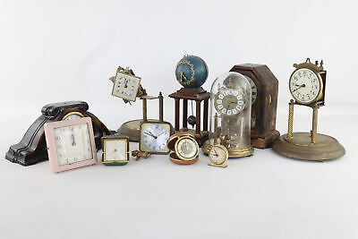 Lot of 10 x Vintage Mantle/Travel/Alarm Clocks Mixed Key & Hand-Wind SPARES