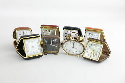 Lot of 8 x Vintage HAND-WIND Travel/Alarm Clocks Inc. Swiza & Ross WORKING
