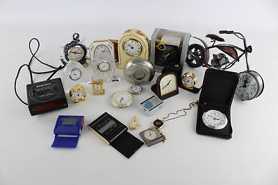 Lot of 20 x Vintage QUARTZ Novelty Clocks/Alarms Mixed Designs Untested