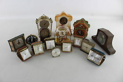 Lot of 16 x Vintage HAND/KEY - WIND Travel/Alarm&Mantle Clocks Spares & Repairs