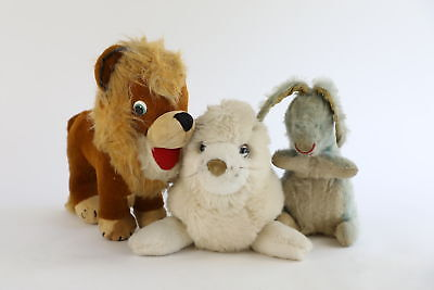 Lot of 3 x Vintage MERRYTHOUGHT Soft Toys Inc. Rabbis, Lion & Seal
