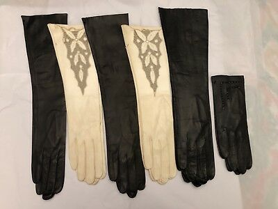 Lot Of 6 Vintage Leather Womens Gloves New In Orignal Bags - Italy/Greece