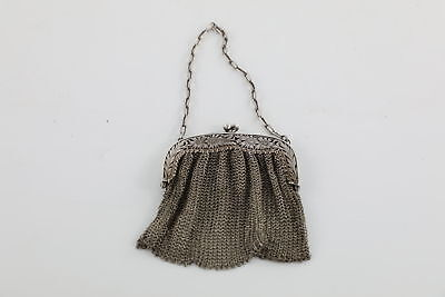 Vintage .925 STERLING SILVER Ladies Chain Mail Purse With Floral Detail -78g