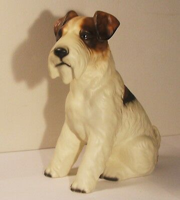 Vintage Wire Hair Terrier Fox Terrier Ceramic Dog Figurine  H227D63 Japan