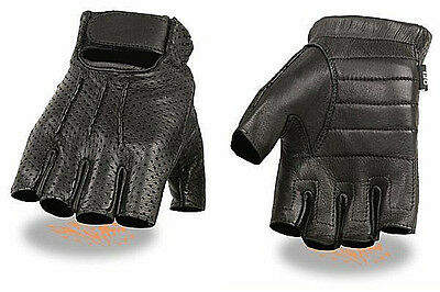 Perforated Deerskin Leather FINGERLESS Gel Palm Gloves Motorcycle Rider Biker