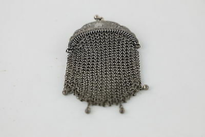 Vintage .925 STERLING SILVER Ladies Chain Mail Purse With Floral Detail -38g