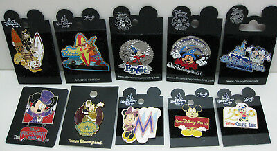 Disney Parks Trading Pin Lot of 10 Older Retired Pins New on Cards AUTHENTIC