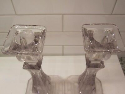 "Pair Antique Crystal Etched Candlesticks w/ Purple hue 8 3/8"" Art Deco-see!"