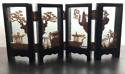 Vintage Chinese Hand Carved Cork Art & Cranes In Folding Glass Screens Frames