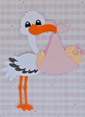 Stork with baby girl fully assembled die cut / paper piecing