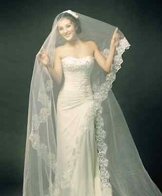 Light Champagne Tone Classic 1 Tiers Wedding Bridal Flowers Lace Tulle Veil