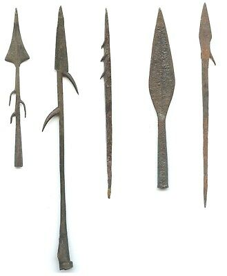 African Metal Arrow & Harpoon Points - Historic Period - Various Sizes Set of 5
