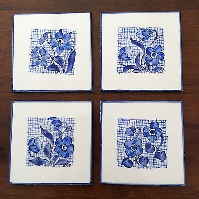 Decorative Ceramic Tile Lot Floral White & Blue Made In Germany 3""