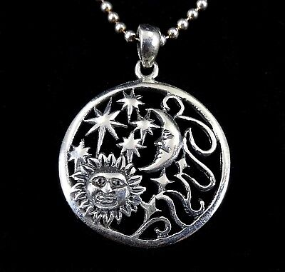 Handcrafted Solid 925 Sterling Silver SUN Crescent MOON & STARS Pendant Amulet