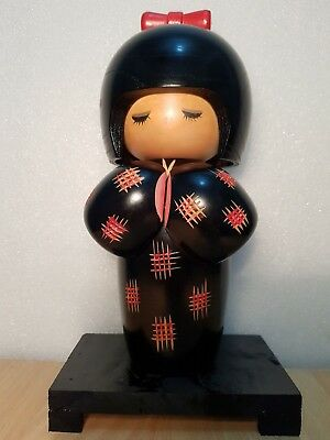 Vintage Japan Made Creative Kokeshi doll with wooden petal (25 cm)