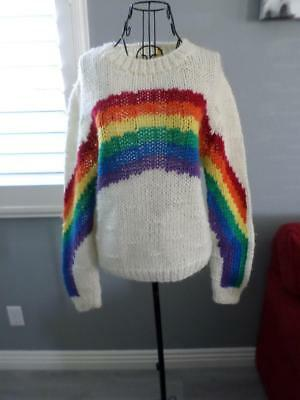 80's Vintage Retro Emo New Wave Rainbow Pride Red Blue Green Purple Sweater S M