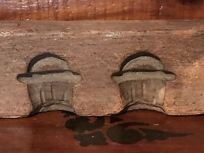 Antique Primitive Hand Carved Wood Candy Mold With 7 Baskets Handles AAFA