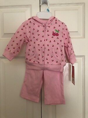 NEW NWT Girls Carters 2 Piece Set 6 Months Cardigan Pants pink cherries