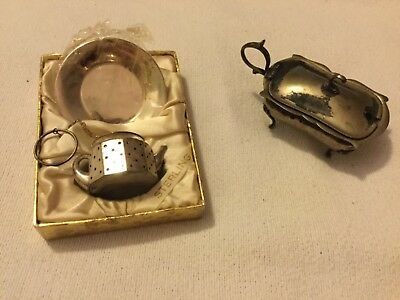 Sterling Tea Strainer Infuser Ball Teapot with Tray & Mustard Pot
