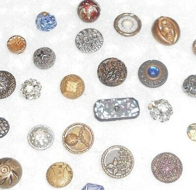 26 Small Antique Victorian Metal & Glass Buttons SWEET >-)))'>