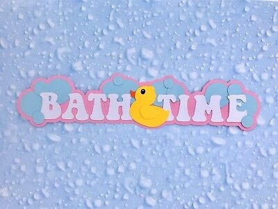 Fully assembled 'Bath Time' scrapbook title - pink