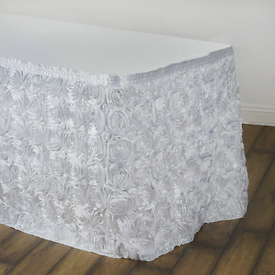 14' White SATIN ROSES TABLE SKIRT Tradeshow Wedding Party Catering Supplies