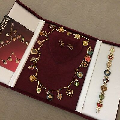 JOAN RIVERS 19 Charm Hearts & Flowers Necklace Bracelet & Earrings Full RARE Set