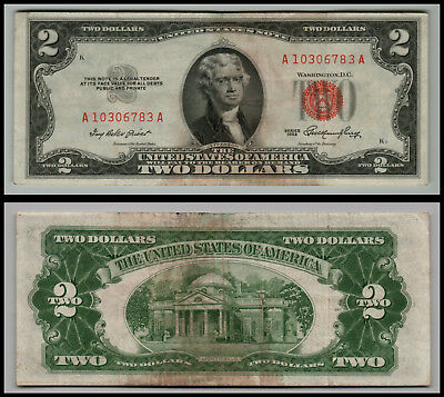 1953 $2 Dollar Bill Old Us Note Legal Tender Paper Money  Red Seal =E976