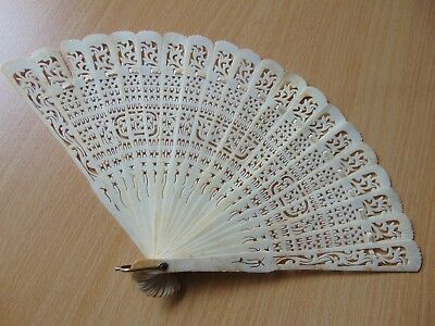 Antique 19th Century Chinese Carved Brise Cattle Bovine Bone Hand Fan 7.5 inch