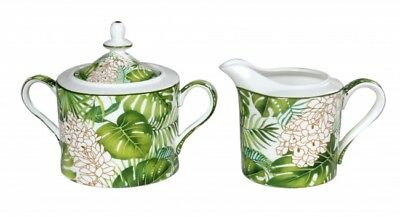 Fine Bone China Tropical Palms Sugar and Milk Pot w Gift Box Birthday Xmas Gift
