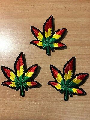 1 Colorful Hemp Cannabis Leaf Embroidery Clothing Iron-On Patch Applique