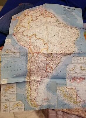 Vintage National Geographic SOUTH AMERICA MAP from 1960 issue