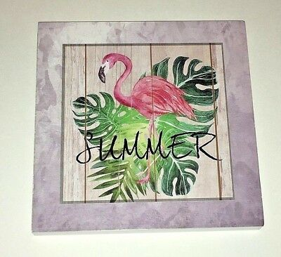 Pink Flamingo Tropical Palm Tree Leaf Summer Shadow Box Style Wall Picture Decor