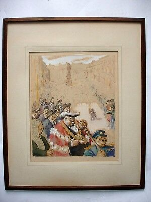 VINTAGE 1940's 50's WATERCOLOUR MAYOR with crowds framed