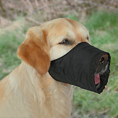Black Dog Muzzle with Fleece Lining for Small to Medium Dogs S-M
