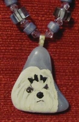 Maltese hand painted on a freeform Blue Lacy pendant/bead/necklace