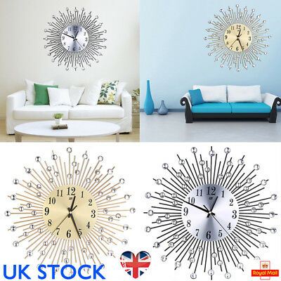 UK Sun Spangle Shape Metal Wall Clock Luxury Style Clocks Home Office Decoration