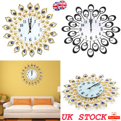Peacock Style Diamond Wall Clocks Luxury Vintage Design Metal Clock Home Decor