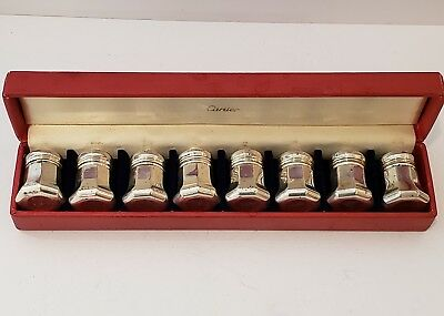 Vintage Cartier Sterling Silver Salt & Pepper Shakers-8 Piece Set