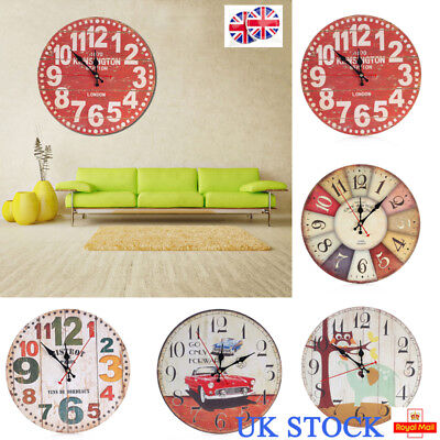 UK Wall Clock Watch Wooden Style Battery Operated Clocks Home Living Room Decor