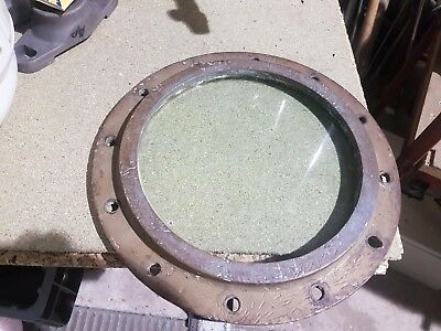 Porthole non opening WW2 solid brass with 3/4 inch thick glass, Circa 1932